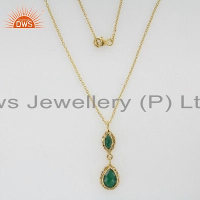 22K Gold Plated Sterling Silver Green Onyx And White Topaz Pendant With Chain