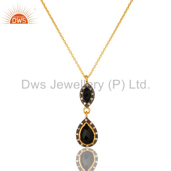 18K Yellow Gold Plated Sterling Silver Black Onyx And CZ Drop Pendant With Chain
