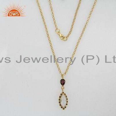 22K Gold Plated Sterling Silver Crystal Quartz And Garnet Pendant With Chain
