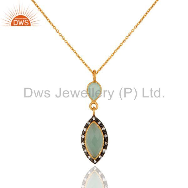 Lab-created aqua blue chalcedony gemstone gold plated sterling silver pendant