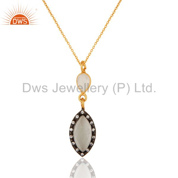 18K Gold Platd Sterling Silver Handmade White Moonstone & CZ Drop Pendant Chain