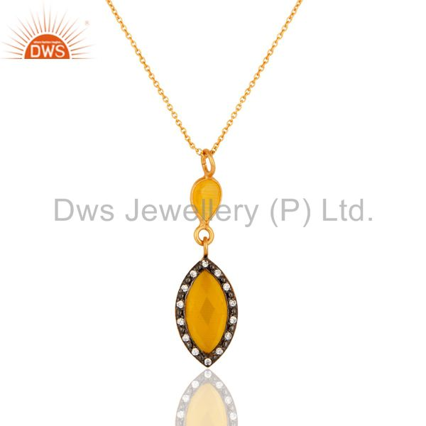 """18K Gold Plated Faceted Yellow Moonstone & CZ Sterling Silver Pendant 16"""" Chain"""
