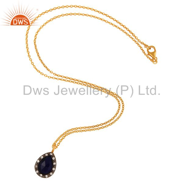 18k Yellow Gold-Plated Sterling Silver Blue Corundum and CZ Accent Drop Pendant