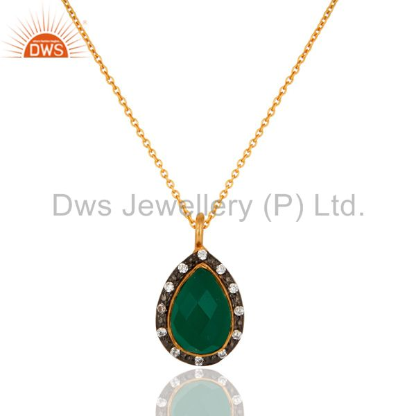 18K Gold Plated 925 Sterling Silver Green Onyx & White Zirconia Chain Pendant