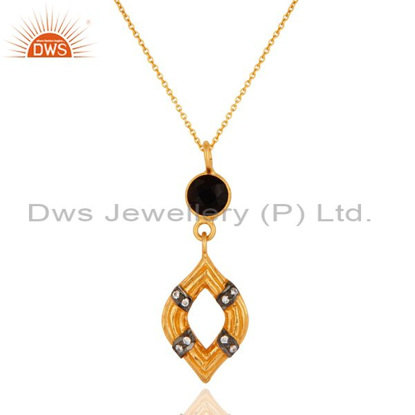 Black Onyx Sterling Silver With Yellow Gold Plated Designer Pendant For Women