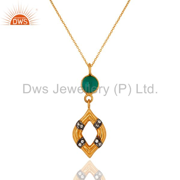 Gold Plated Sterling Silver Gemstone Designer Pendant With Green Onyx & Zircon