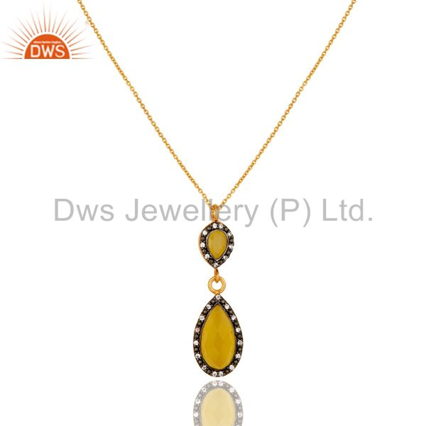 18K Gold Plated Sterling Silver Yellow Moonstone And CZ Drop Pendant With Chain