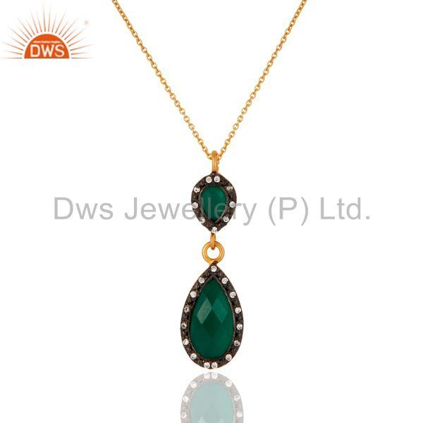 Handmade 925 Sterling Silver Gold Plated CZ & Green Onyx Teardrop Pendant Chain