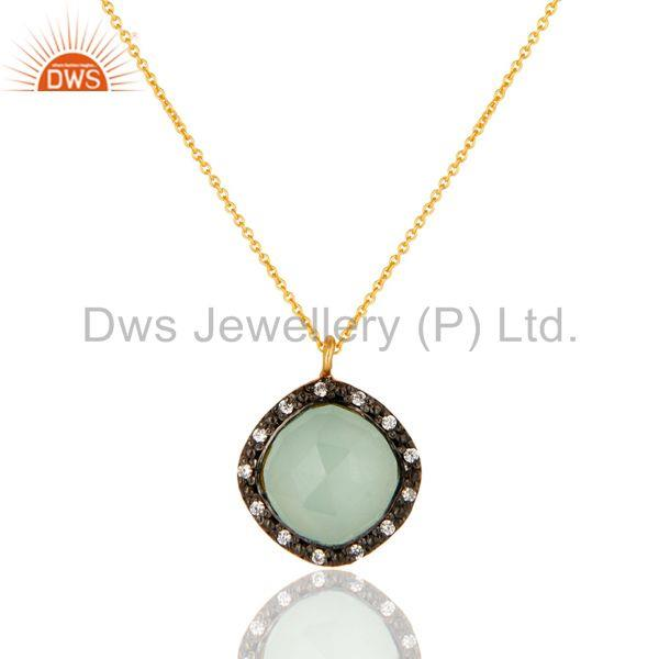 Gold Plated Sterling Silver Aqua Glass & Cubic Zirconia Fashion Pendant Neckla
