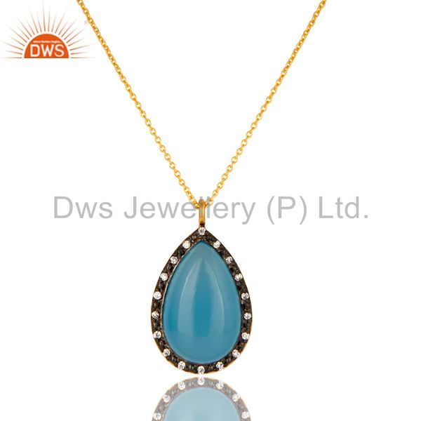 18K Gold Plated Sterling Silver Blue Chalcedony And CZ Drop Pendant With Chain