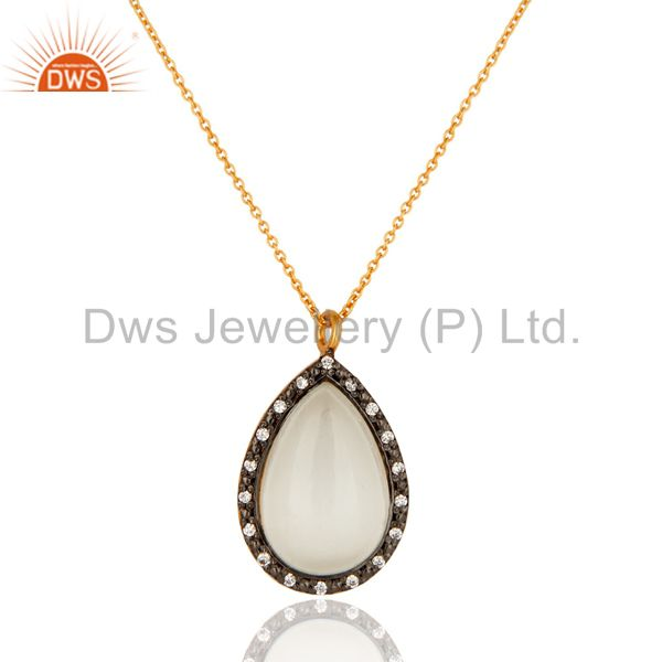 14K Gold On Sterling Silver Cubic Zirconia And White Moonstone Pendant Necklace