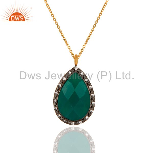 Faceted Green Onyx Teardrop Pendant Chain Made In 18k Gold Over Sterling Silver