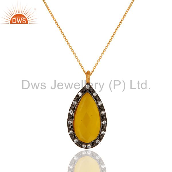 Gold Plated Sterling Silver Yellow Moonstone & CZ Designer Drop Pendant Necklace