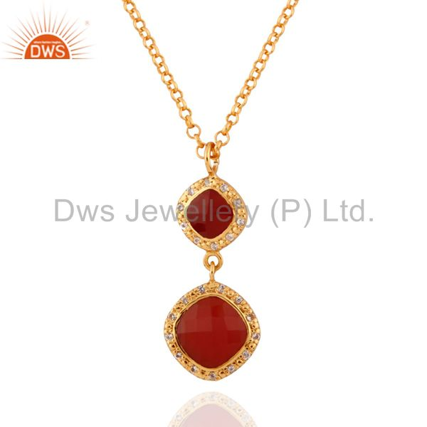 classical 24K Yellow Gold Plated White Topaz & Red Onyx 925 SIlver Drop Pendant
