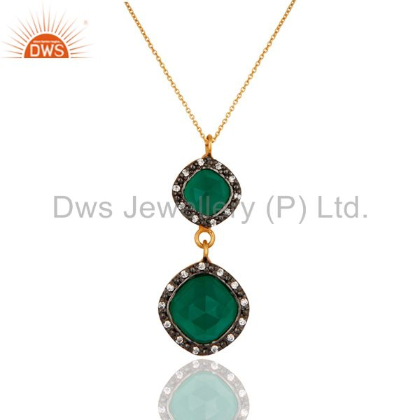 Gold Plated Sterling Silver Green Onyx Gemstone Pendant With 16