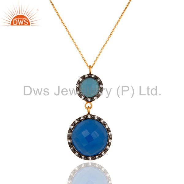 Blue chalcedony and white zircon 925 sterling silver 18k gold plated pendant