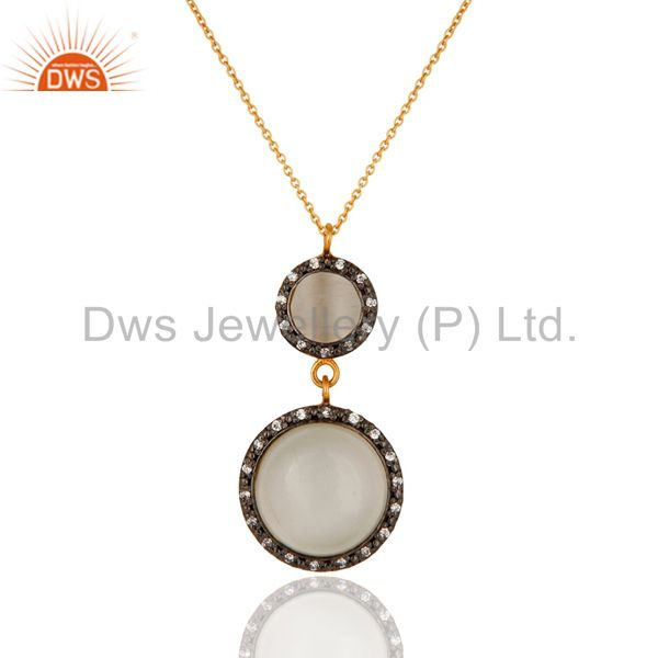 Sterling silver with gold plated moonstone cubic zirconia drop pendant necklace