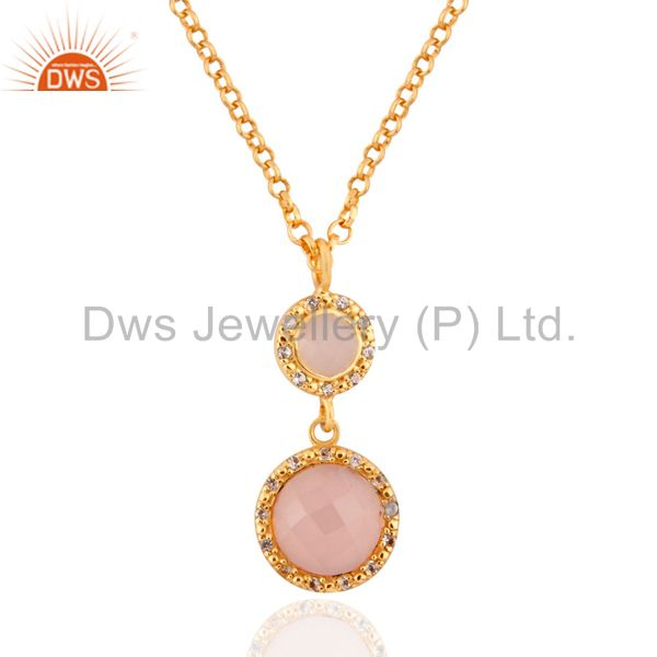 """Solid 925 silver rose chalcedony 18k yellow gold plated white topaz pendant 16"""""""