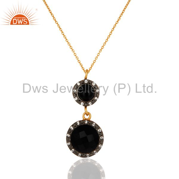 Black onyx gemstone pendant necklace with cz in 18k gold over sterling silver