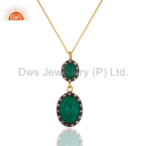 18K Yellow Gold Plated Sterling Silver Bezel Faceted Green Onyx Pendant Necklace