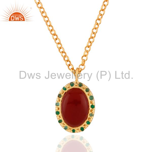 18k yellow gold plated sterling silver red onyx and emerald pendant with chain