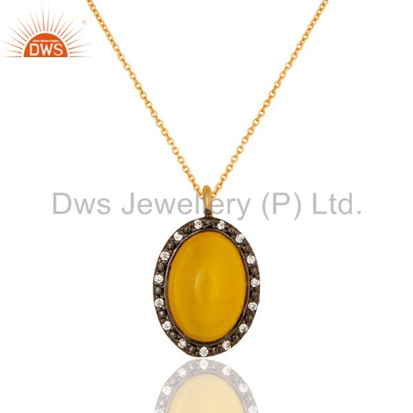 """14k gold on sterling silver yellow moonstone & cz pendant w/- 16"""" chain necklace"""
