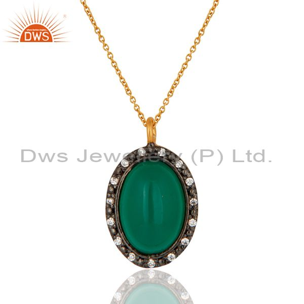 Designer green onyx gemstone cabochon sterling silver gold plated pendant chain