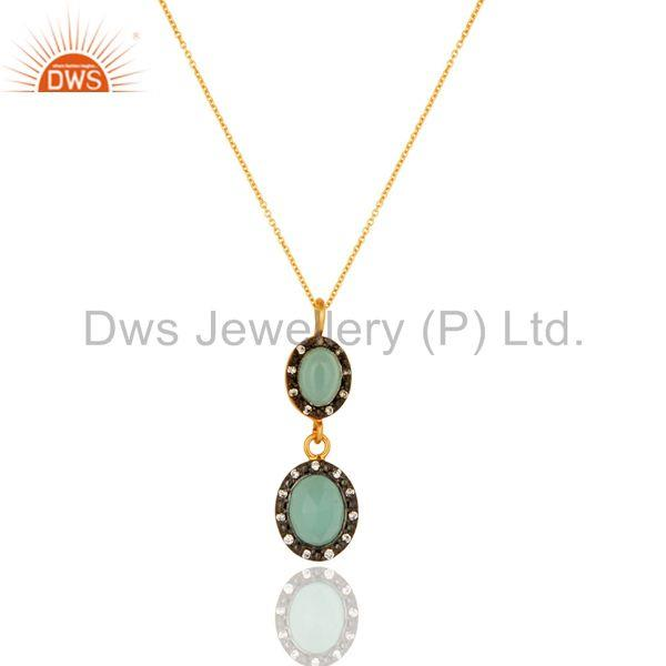 CZ & Aqua Blue Chalcedony Drop Fashion Pendant With Chain - Gold Plated Silver