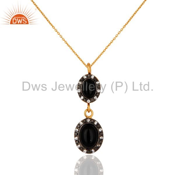 925 Sterling Silver Black Onyx Gemstone Pendant Necklace With 18K Gold Plated