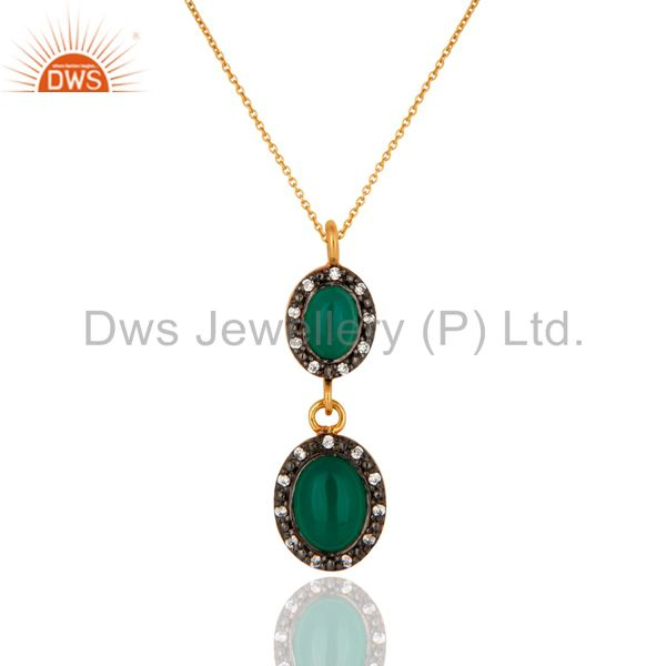 18K Gold Plated Solid 925 Sterling Silver Green Onyx & Cz Beautiful Drop Pendant