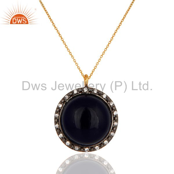 18k gold plated 925 sterling silver blue corundum gemstone pendant with zircon