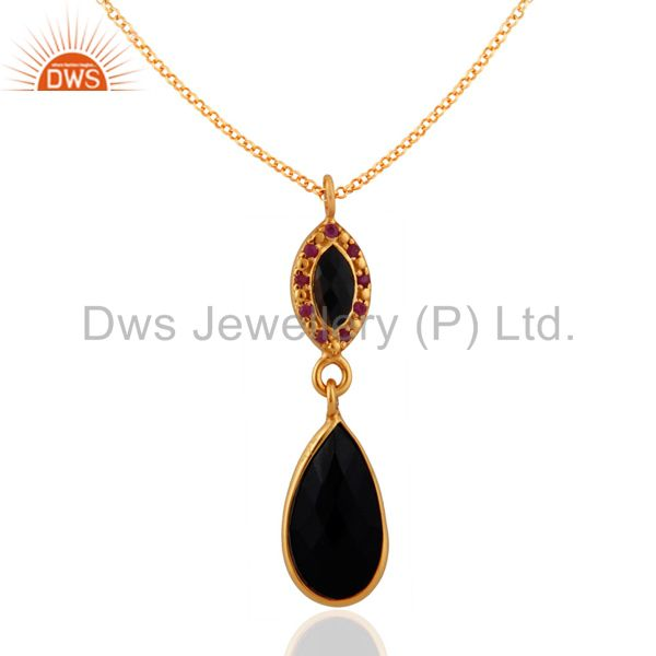925 Sterling SIlver Black Onyx & Ruby Gemstone Pendant With Gold Plated Chain