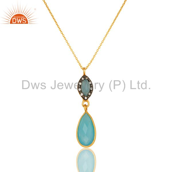18K Gold Plated Sterling Silver Aqua Chalcedony And CZ Drop Pendant With Chain