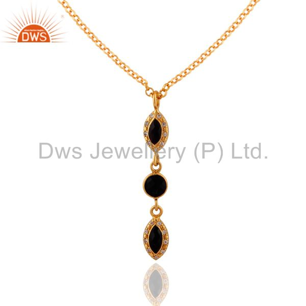 Black Onyx & White Topaz Gemstone Pendant In Gold Plated Over Sterling Silver