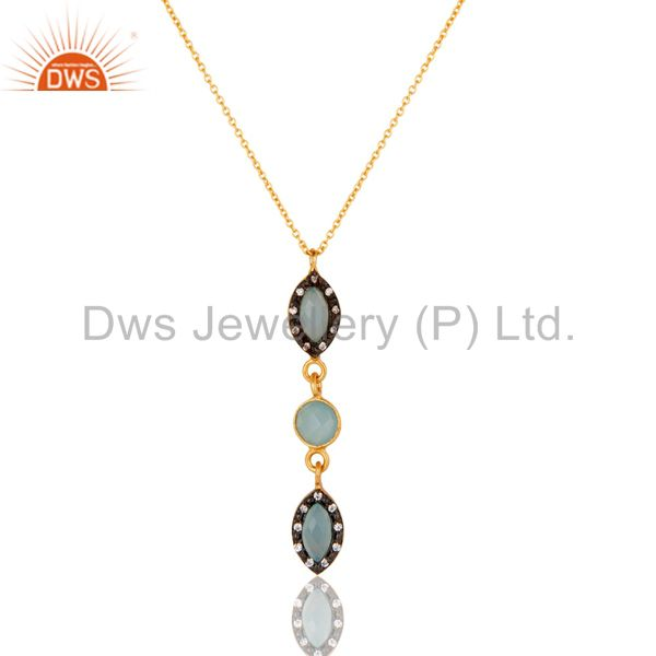 Blue Chalcedony and CZ Gemstone Pendant In Gold Plated Over Sterling Silver