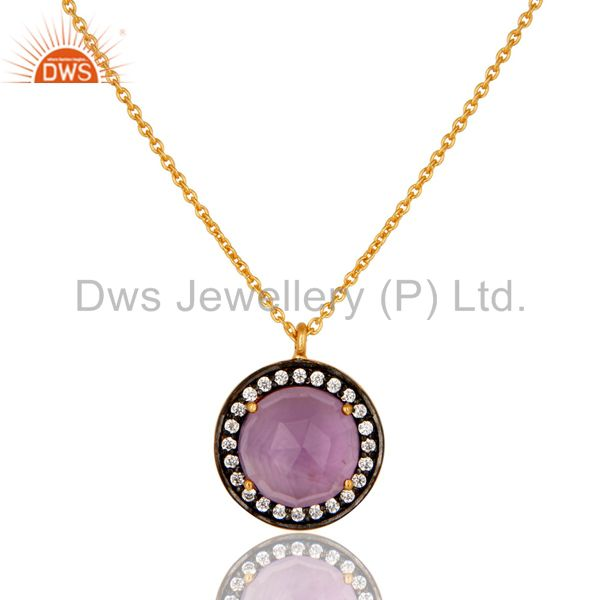 18k yellow gold plated sterling silver amethyst and cz pendant with chain