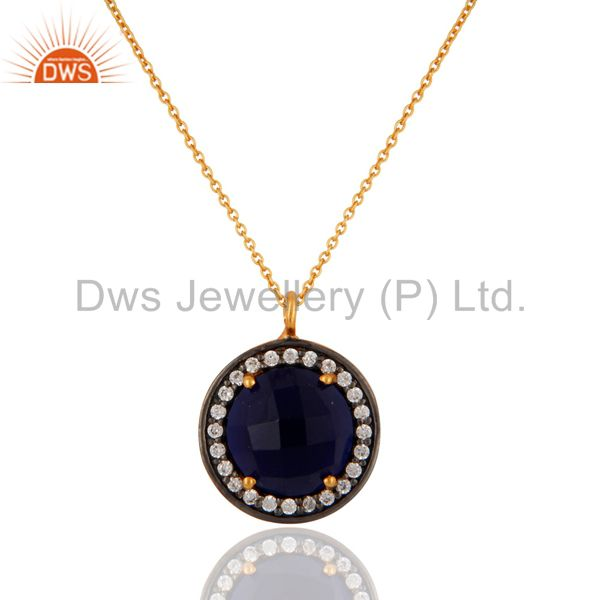18k Gold Over Silver Blue Corundum Checkerboard Gemstone & CZ Pendant Necklace