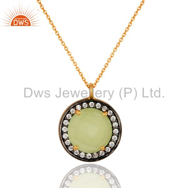 18k gold plated sterling silver prehnite chalcedony gemstone pendant with chain