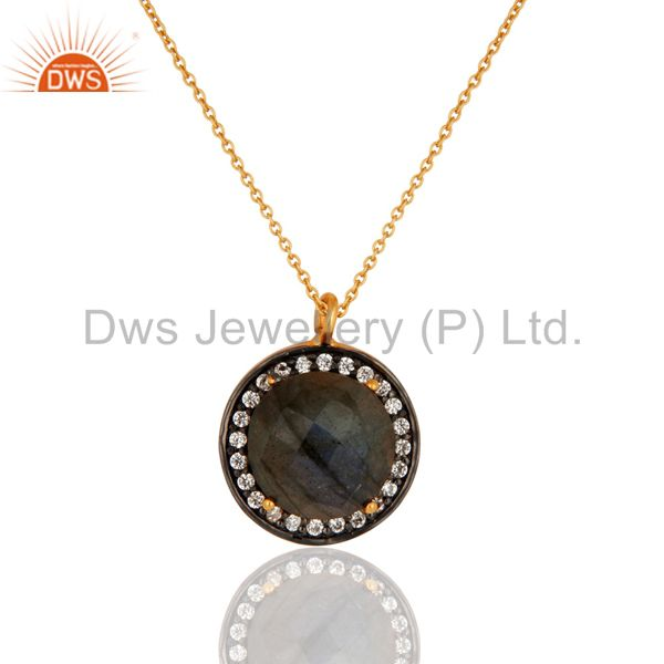 """Gold Plated 925 Sterling Silver Labradorite Gemstone Pendant With Chain 16"""" In"""