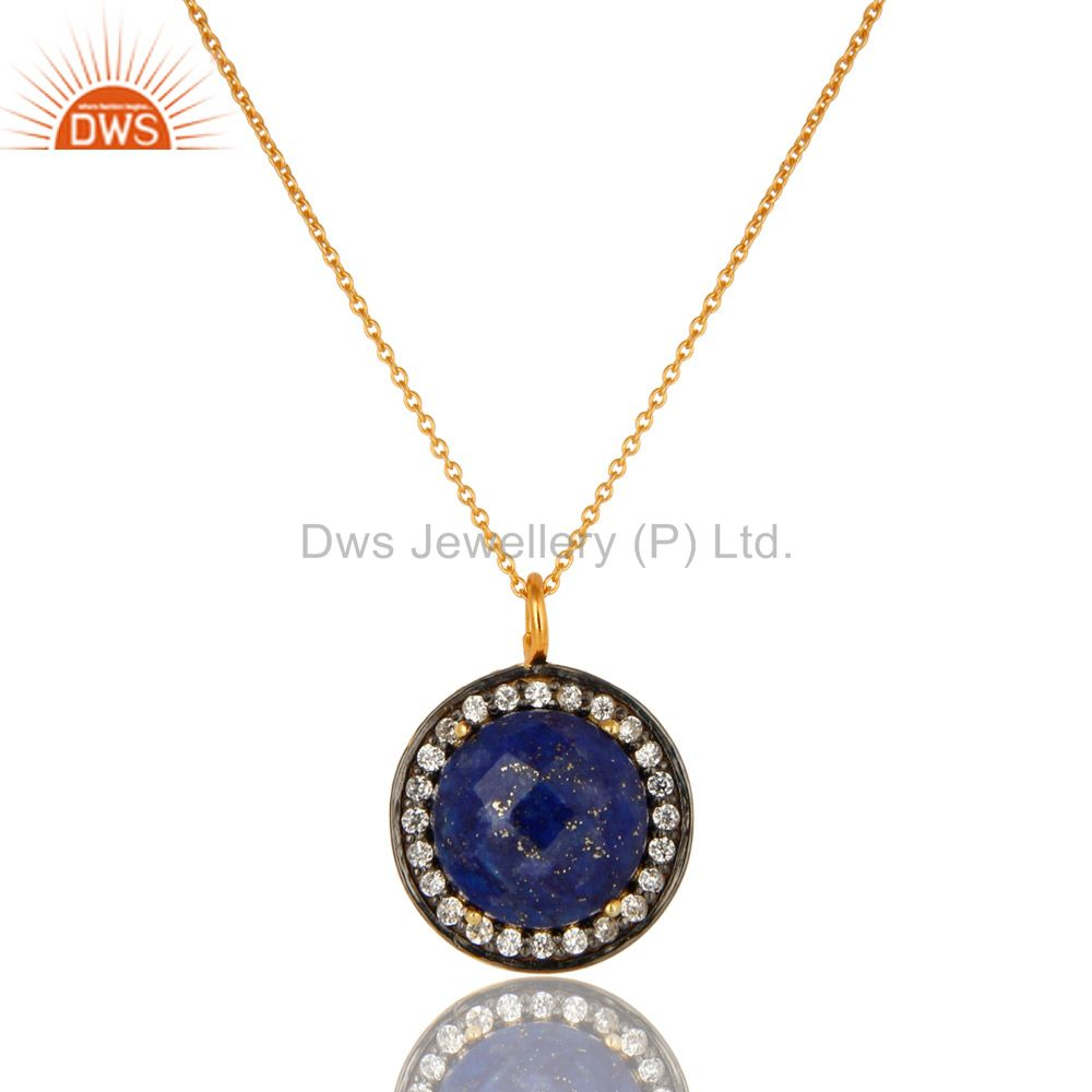 14K Yellow Gold Plated Sterling Silver CZ And Lapis Lazuli Pendant With Chain