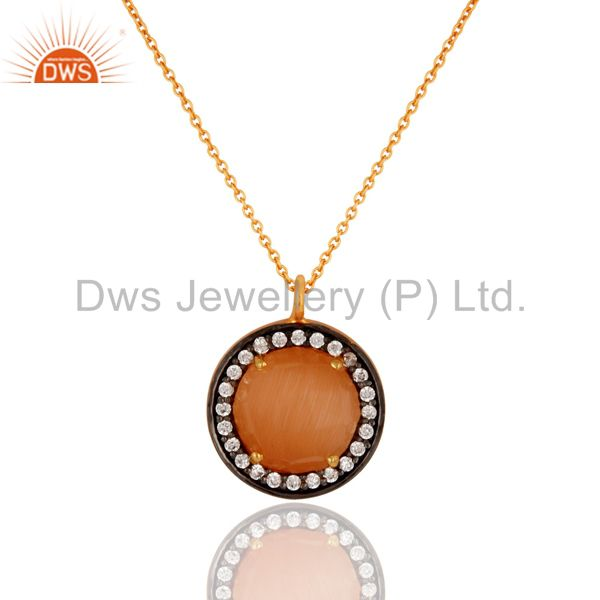 24K Gold Plated Peach Moonstone 925 Sterling Silver Pendant Necklace With CZ