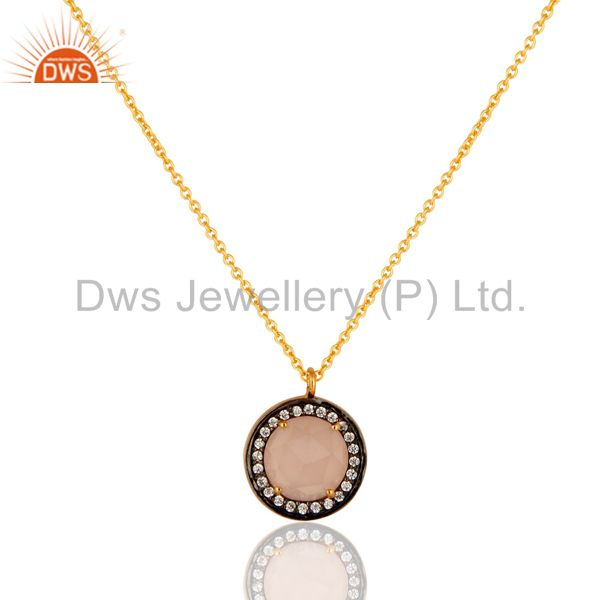 Rose Chalcedony And CZ Pendant With Chain In 18K Gold Over 925 Silver