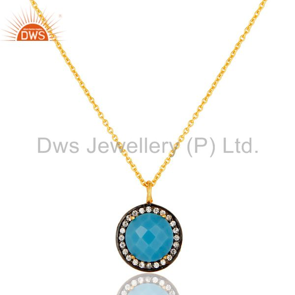 18K Yellow Gold Plated Sterling Silver Turquoise And CZ Pendant With 16