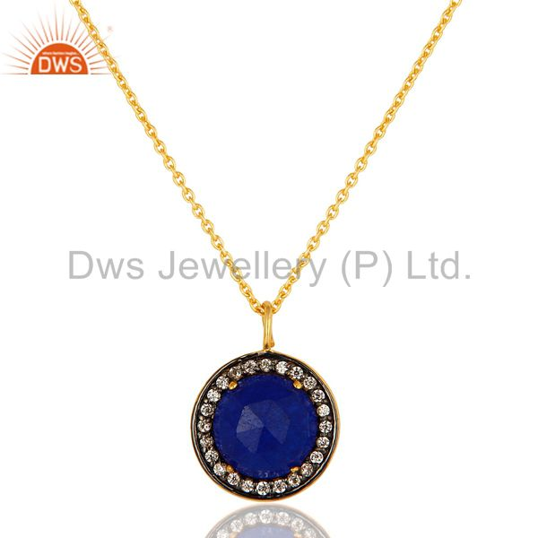 14K Yellow Gold Plated Sterling Silver Blue Aventurine And CZ Pendant With Chain