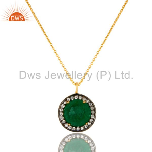 18k gold plated sterling silver green aventurine and cz drop pendant with chain