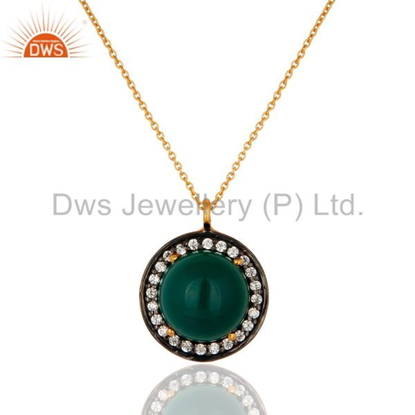 18K Gold Plated Sterling Silver Round Green Onyx Gemstone & CZ Beautiful Pendant