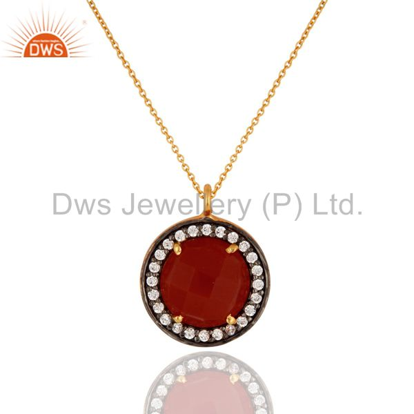 """925 Sterling Silver Red Onyx Gemstone Pave CZ Pendant With 16"""" In Chain"""