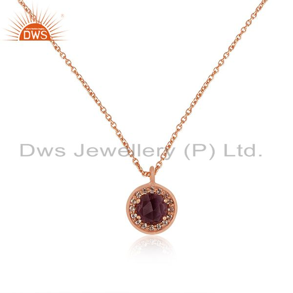 Rose Gold Plated 925 Silver Amethyst Gemstone Chain Pendant Manufacturer