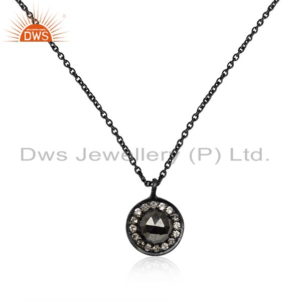Hematite Gemstone Black Rhodium Plated 925 Silver Chain Pendant Manufacturer