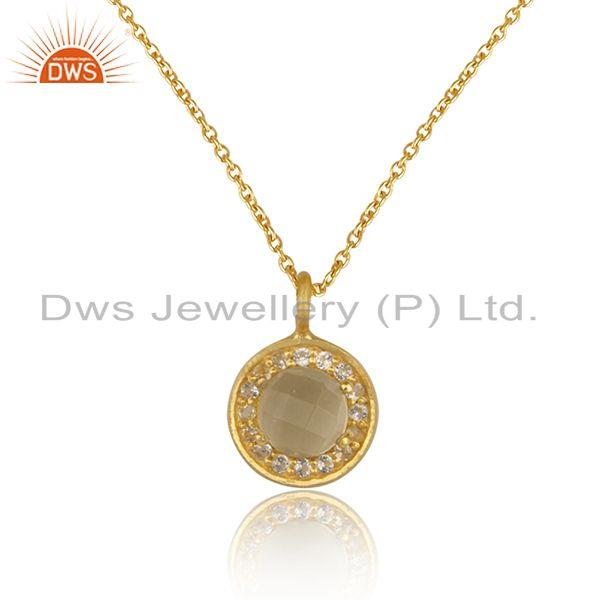 White and Lemon Topaz Gemstone Designer Gold Plated Silver Chain Pendant Jewelry